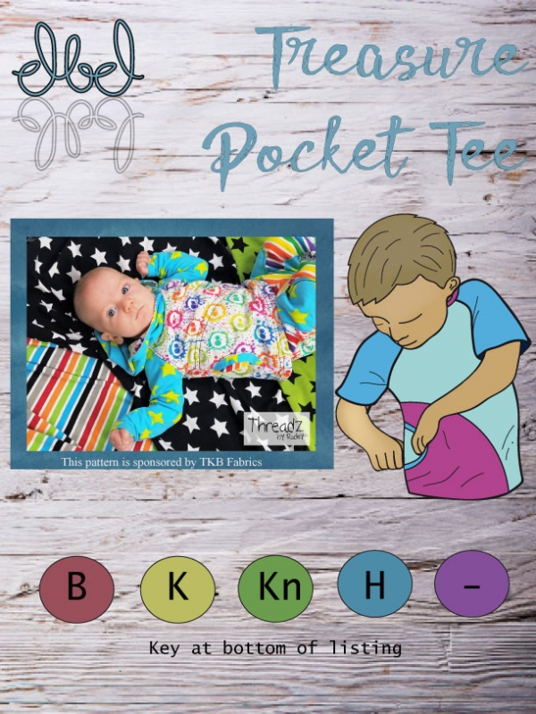 The cover shows a baby lying down on several examples of TKB Fabric and includes